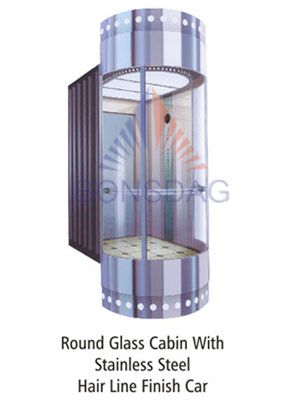 round glass cabin with stainless steel hair line finish car  Elevators