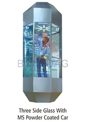 three side glass with mspowder coated car  Elevators