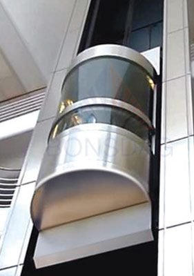 Round glass cabin with stainless steel  Elevators