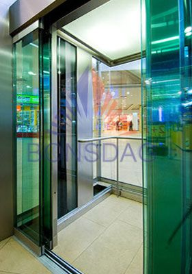 squre glass cabin with stainless steel  Elevators