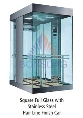 squre full glass with stainless steel hair line finish car  Elevators