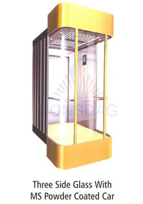three side glass with ms powder coated car  Elevators